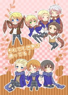 Tags: Anime, Shared Scarf, Axis Powers: Hetalia, Japan, France, China, Russia