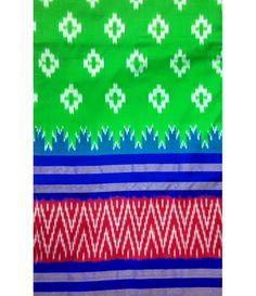 Green Handloom Pure Ikkat Silk Saree
