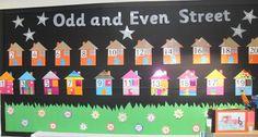 Trick or Treat On Odd and Even Street! - Halloween Math Bulletin Board Idea
