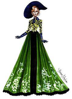 Lady Tremaine - Cate Blanchet - by Armand Mehidri Fashion Illustration Sketches, Illustration Girl, Fashion Sketches, Pop Art Drawing, Dress Drawing, Disney Princess Fashion, Disney Style, Disney Fashion, Fashion Prints
