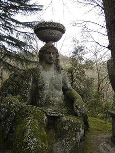 Giant Persephone at the Gardens of Bomarzo, circa XVI, province of Viterbo, Italy