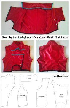 Neophyte Redglare cosplay vest pattern, from Homestuck