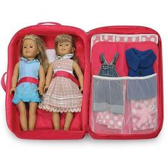 "Badger Basket Double Doll Travel Case with Bunk Bed and Bedding, Dark Pink, Fits Most 18"" Dolls"
