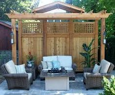 pergola privacy screens - use frosted panel inserts to get privacy but still let light thru