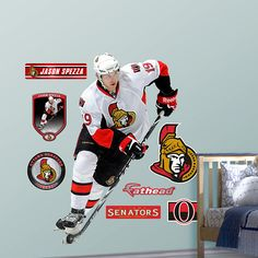 Jason Spezza, current favorite player and one of the best passers in the league Hockey Teams, Ice Hockey, Ottawa, Wall Design, Nhl, More Fun, Wall Decals, Party Themes, Baseball Cards