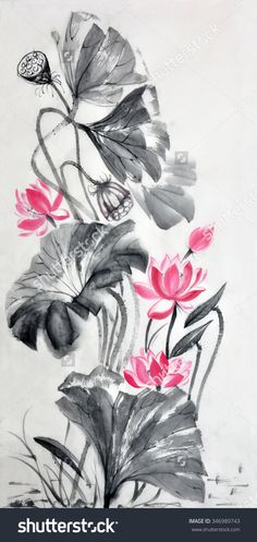 Lotus Flower Watercolor Painting On A Rice Paper, Original Art, Asian Style. It�?S A Photo Not A Scan. When Scanning The Rice Paper Turns Into Toilet Paper. - 346989743 : Shutterstock