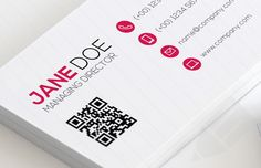 Detailed preview of QR Code Business Card Template showing name, title, phones, email, and web address details