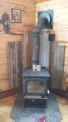 Wood Stove Wall, Corner Wood Stove, Wood Stove Surround, Wood Stove Hearth, Stove Fireplace, Wood Burner, Wall Wood, Barn Tin, Metal Barn