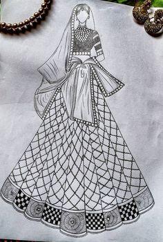 Dress Design Drawing, Dress Design Sketches, Fashion Design Sketchbook, Girl Drawing Sketches, Fashion Design Drawings, Art Drawings Sketches Simple, Fashion Sketches, Doodle Art Designs, Fashion Illustration Dresses