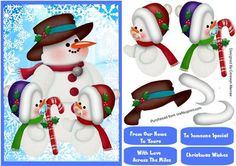 A lovely card front to make and give to anyone at Christmas The lovely snowman family a cute card with pa and the two baby snowman has four greeting tags for you to choose the greeting