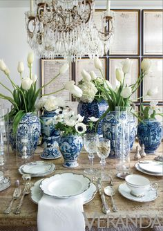 LOVE all the white flowers paired with the blue transferware. Such a classy tablescape for Easter or any spring occasion!