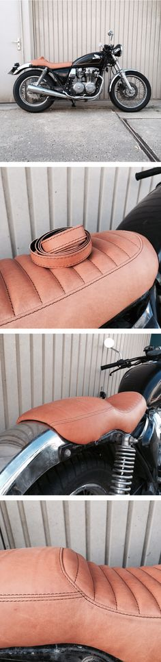 Finished this @honda CB650 seat with some matching bar tape. No mods to the frame on this one, but I made a new seat pan snug around the frame and fender. And some foam and leather. #custom #leather #honda #cb650 #customseat #brat #tracker #scrambler #caferacer #motorcycle #silvermachine #seat #caferacerxxx #vintagemotorcycle #caferacerculture #custommotorcycle #caferacers #bratstyle #caferacersofinstagram #vintage #bikersofinstagram #croig #bikes #caferacersociety #caferacersofinstagram