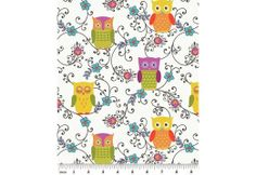 Fabric Fixation - Owllivia - Roost Multi/White Win Online, Owl Fabric, Haberdashery, Fabric Panels, Plush, Kids Rugs, Quilts, Sewing, Owls