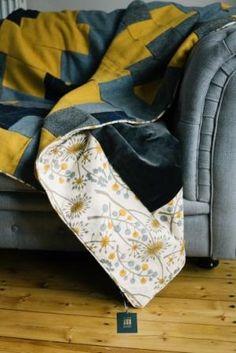 Angie Lewin yellow Harris Tweed quilt with subtle smoky grey velvet Lisa Watson, Angie Lewin, Velvet Quilt, D Gray, Harris Tweed, Autumn Activities, Cotton Fabric, Retro, Homemaking