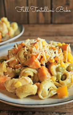 Fall Tortellini Bake with sweet potatoes and a healthy cream sauce!