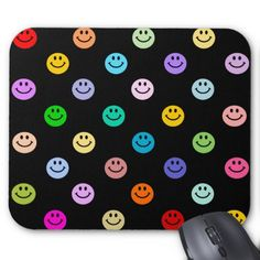 Shop Rainbow Multicolor Face Pattern Mouse Mat created by HappyFacePlace.
