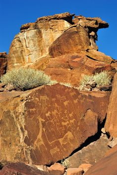Twyfelfontein rock engravings in the Kunene Region of northwestern Namibia:  Most of the engravings and probably all the paintings were created 2,000 to 2,500 years ago by the Khoikhoi, an ethnic group related to the San (Bushmen).  by Rosemary Walden