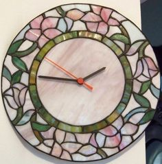 Vintage Wall Clock Tiffany Stained Glass Style by PaintedOnPlaques, $35.00