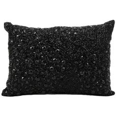 Mina Victory Luminescence Fully Beaded Black Throw Pillow (1,350 THB) ❤ liked on Polyvore featuring home, home decor, throw pillows, black, nourison, black home decor, black throw pillows, embroidered throw pillows and oblong throw pillows