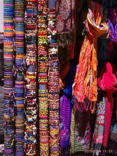 Fashion find. Bracelets and scarves.  Cusco, Peru.