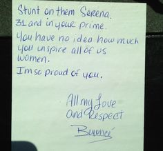 Beyonce wrote this note for Serena Williams after her huge French Open win. Love it! #tennis #rolandgarros
