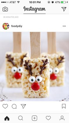 Holidays: Reindeer Rice Krispies - the cutest treat you will see all Christmas season. Make this recipe and deliver them to family and friends! (christmas desserts for kids to make rice krispies) Christmas Party Food, Xmas Food, Christmas Sweets, Christmas Cooking, Noel Christmas, Christmas Goodies, Holiday Desserts, Holiday Baking, Holiday Treats