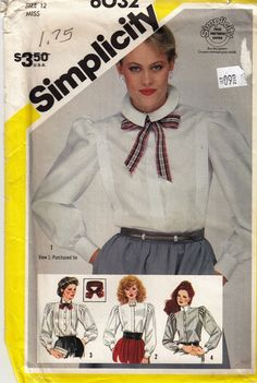 """School Marm Blouse Button Down Top  -  1980's Vintage Women's Pattern  - Size 12 Bust 34""""  - UNCUT - Sewing Pattern Simplicity 6032 by Sutlerssundries on Etsy"""