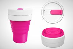 This portable coffee cup can collapse to fit in your purse.