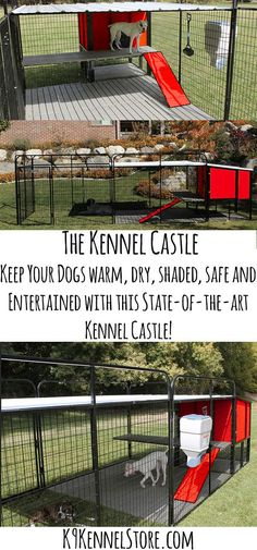 We have noticed that there aren't many big dog houses for large breeds of dogs on the market. If you want a big dog house you most likely will have to build it yourself. This is only one reason why we have designed The Kennel Castle. Not only is it huge Big Dogs, I Love Dogs, Dogs And Puppies, Doggies, Big Dog House, K9 Kennels, Dog Yard, Dog Runs, Outdoor Dog