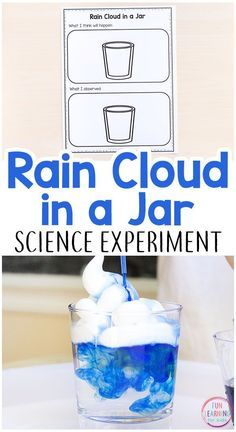 Rain cloud in a jar science experiment. This spring science activity is perfect for preschool, kindergarten and early elementary.#scienceforkids #scienceexperiments #STEM #preschool #weatherunit #scienceactivity