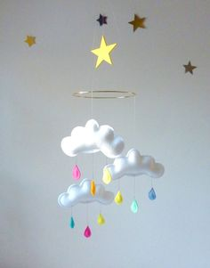 Mobile 3 nuages sur anneau RAINBOW STAR by The par leptitpapillon,