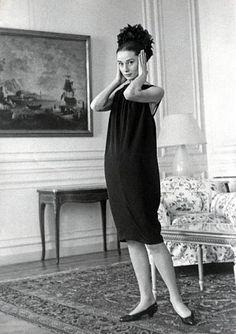Audrey Hepburn at a dress fitting; Rome, 1958