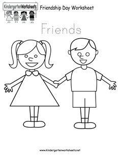Easily print our Friendship Day worksheet right in your browser. It is a free kindergarten holiday worksheet. Preschool Friendship, Friendship Crafts, Friendship Lessons, Friendship Activities, Friend Activities, Happy Friendship, Free Preschool, Kindergarten Worksheets, In Kindergarten
