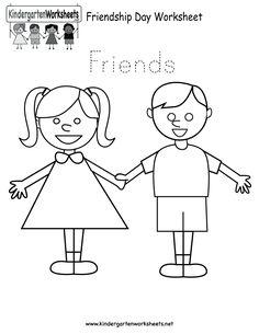 free printable worksheets for preschool | Free Printable Friendship Day Worksheet for Kindergarten
