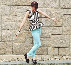 Striped peplum top with bow accents on the shoulders + minty jeggings and mary janes. :)
