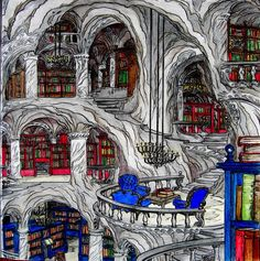 The library under the House of Winds belonging to Rhys.From A Court of Thorns and Roses colouring book.#acotar#acotarcoloringbook #coloringbook #library#rhys#sarahjmaas#prismacolors