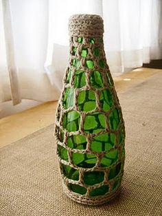 Perrier bottle bud vase - crochet pattern