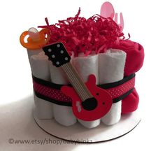 Rock  Roll Guitar Diaper Cake  One Tier  Baby Shower by BabyBinkz, $32.50