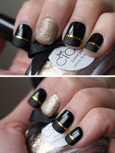 Dagens naglar – Gold & Black | Helen Torsgården – Hiilens sminkblogg