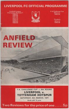 Vintage Football Programme - Liverpool v Tottenham Hotspur, FA Cup 6th round, 1970/71 season, by DakotabooVintage, £3.99