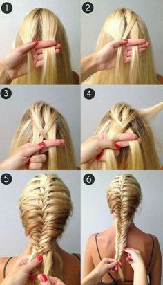 A beautiful French fishtail braidso easy takes a while to get the hang of it but super cute!✋