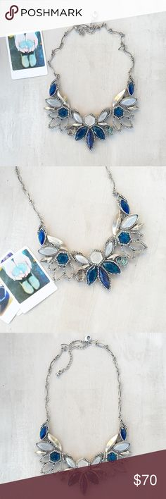 Anthropologie blue necklace ! Breathtaking piece from Anthropologie! 😍❤️😍❤️ worn once, still in excellent condition!blue and grey opal adorned with shiny rhinestones. Anthropologie Jewelry Necklaces
