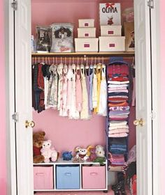 Organized little girl's closet. Hang fabric-covered collapsing shelves from a closet rod to arrange your children's outfits for each day of the week. http://www.retrorealtygroup.com