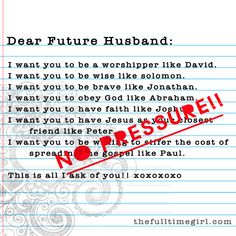 "What guys really think of ""Dear Future Husband"" - so true, a great eye-opener."
