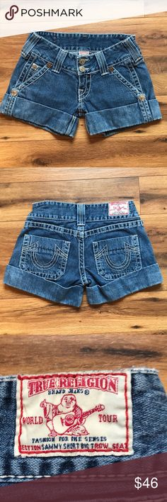 "True Religion Sammy Short Big T True Religion Sammy Short Big T.  Wear around the bottom of the cuff (see picture).  Otherwise in great condition.   Size 26 Inseam 4"" True Religion Shorts Jean Shorts"