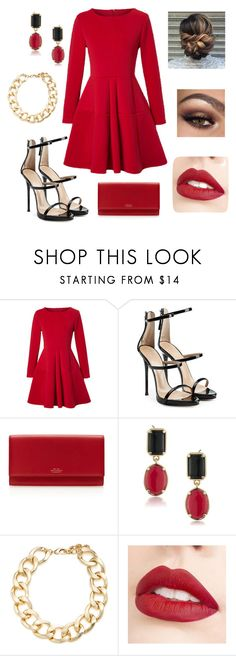 """""""Red"""" by linajoy12 ❤ liked on Polyvore featuring WithChic, Giuseppe Zanotti, Smythson, 1st & Gorgeous by Carolee, Kenneth Jay Lane and Jouer"""
