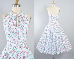 Vintage 50s HALTER Dress / 1950s White Cotton SUNDRESS