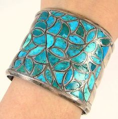 Old-Pawn-Zuni-Handmade-Sterling-Silver-Natural-Turquoise-Inlay-Cuff-Bracelet-J