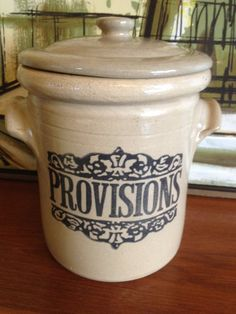 I like the visual weight this crock has. It makes it look like it can withstand an earthquake. Vintage Moira Pottery Provisions Crock With Lid WAS 38 USD