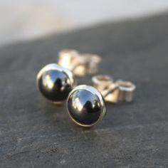 Haematite  stud earrings sterling silver, gemstone studs £18.00